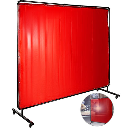 Welding Curtain Welding Screens 6' X 8' Flame Retardant Vinyl With Frame Red