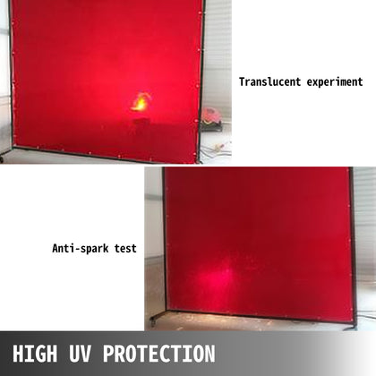 Welding Curtain Welding Screen 6' X 6' Flame Retardant Vinyl With Frame Red