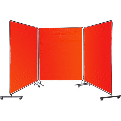 Vevor 3 Panel Welding Screen 6' X 6' Welding Curtain Flame Retardant, Frame, Red
