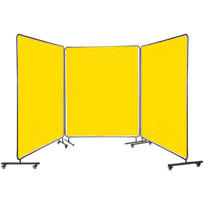 Vevor 3 Panel Welding Screen 6' X 6' Welding Curtain Flame Retardant, Yellow