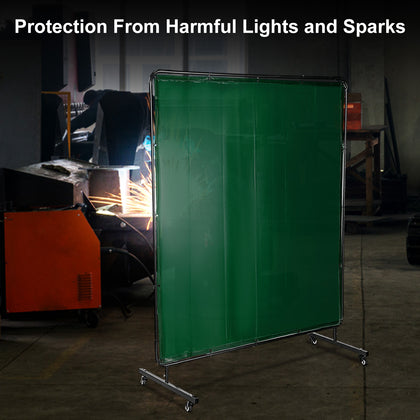 Vevor 3 Panel Welding Screen 6' X 6' Welding Curtain Flame Retardant Frame Green