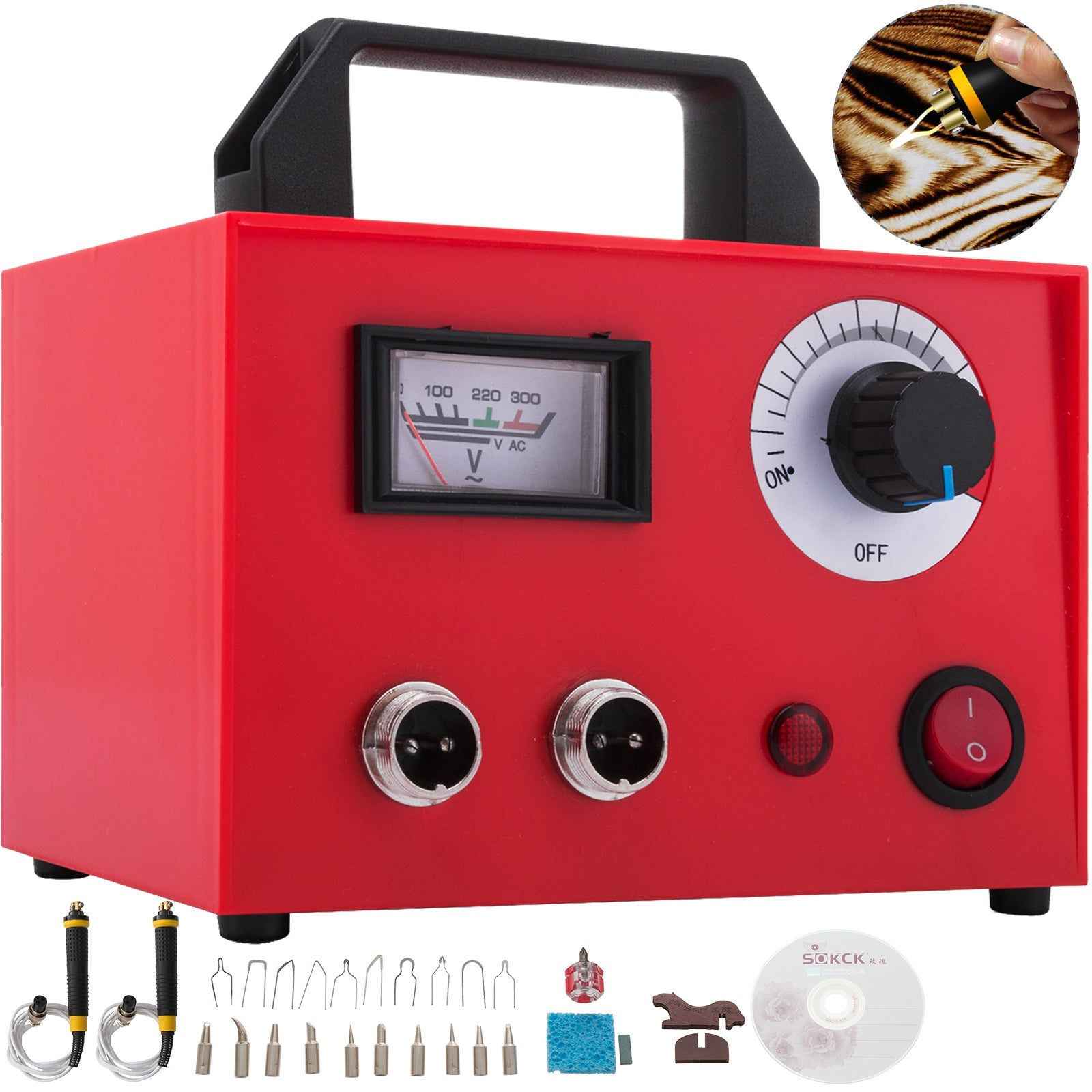 110v 100w Laser Wood Burning Pyrography Machine Abs Shell Gourd Pointer Display