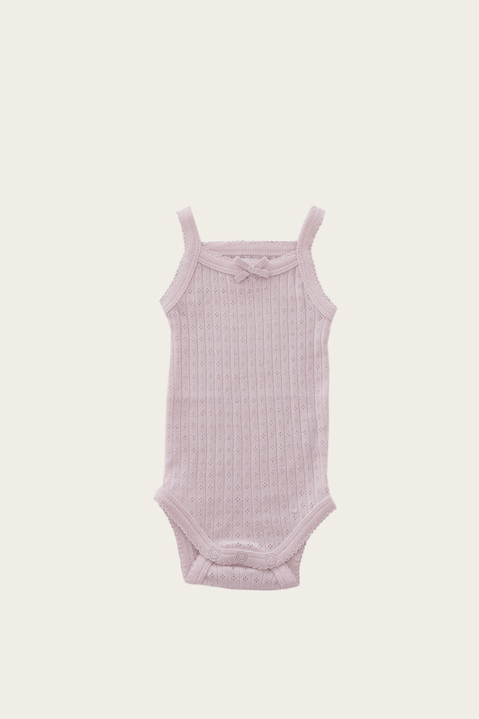 Pointelle singlet bodysuit- old rose