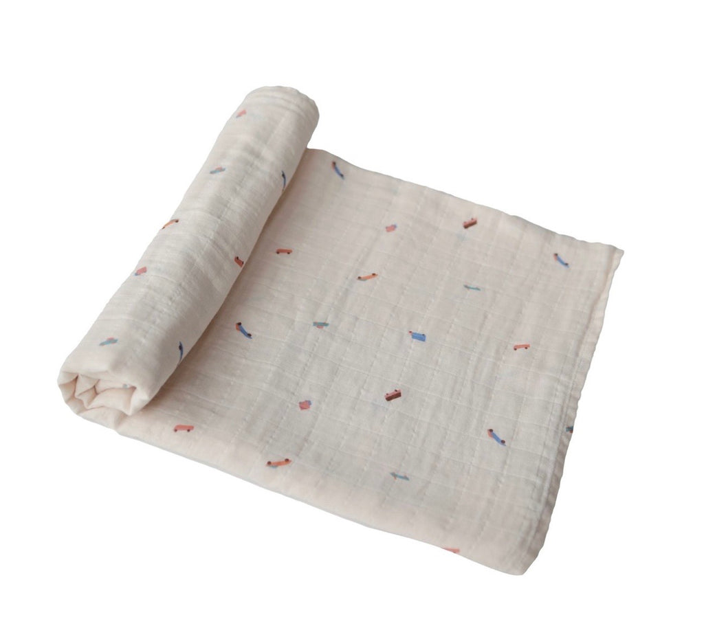 Muslin baby swaddle blanket- retro cars