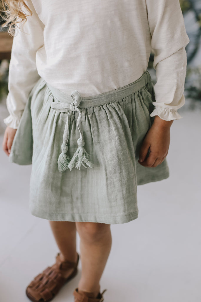 Organic Cotton Muslin Lace Hazel Skirt -sage