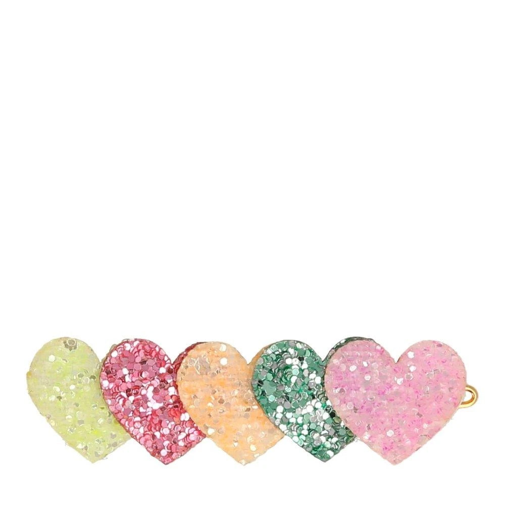 Heart glitter hair clips