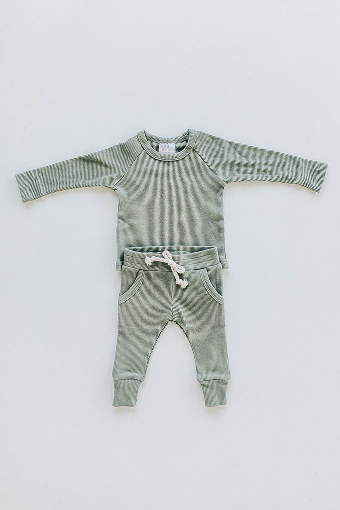 Mebie Baby Organic Cotton Green Ribbed Two-piece Pocket Set