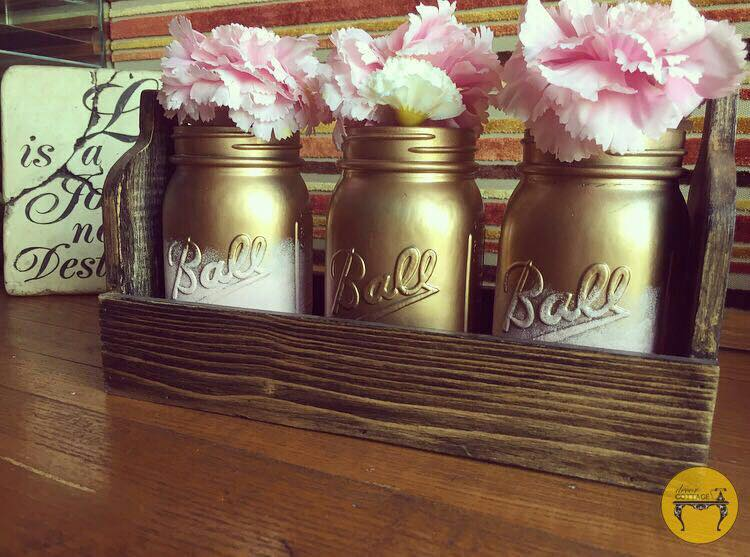 Pink & Gold- Mason Jar Set