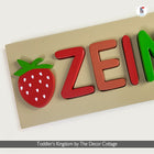 Red Strawberry Name Puzzle Board