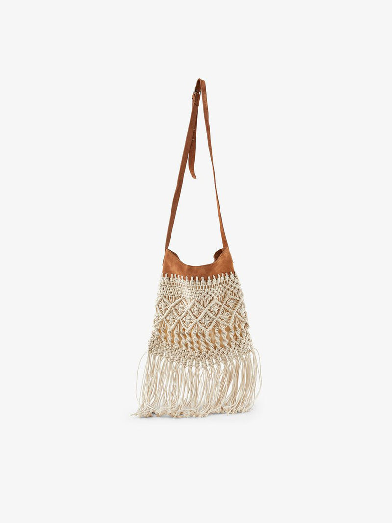 Fringed Crochet Crossbody Bag