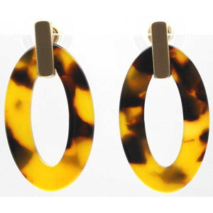 Oval Shape Resin With Brushed Metal Bar Earrings