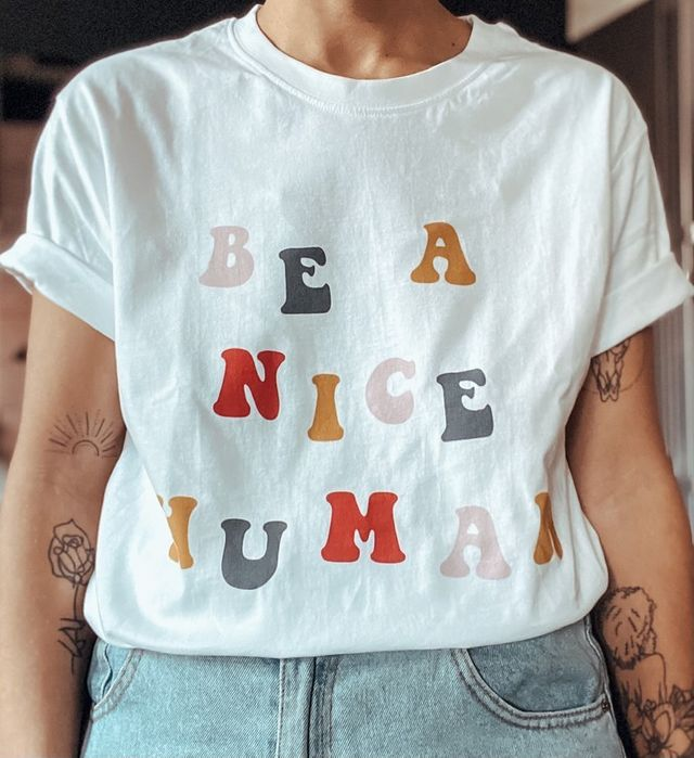 Be a Nice Human Unisex White Tee