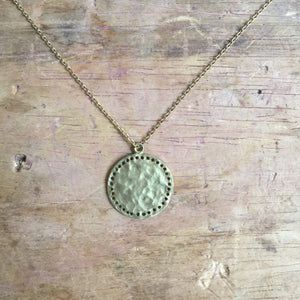 Sixton Boho Hammered Medallion Necklace