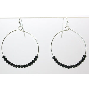 Round Hoop With Black Glass Beads Earrings - Silver or Gold