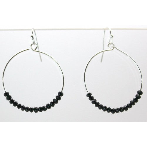 Round Hoop With Glass Beads Earrings In Silver