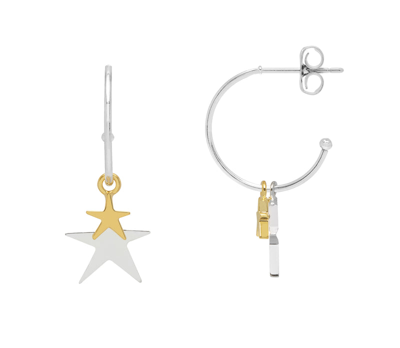 Estella Bartlett Silver and Gold Star Drop Hoops