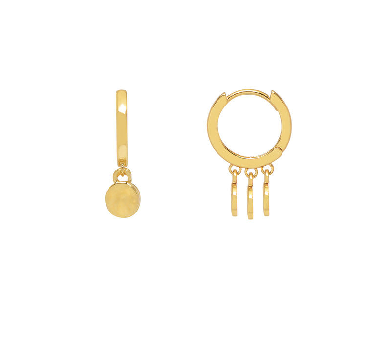 Estella Bartlett Hammered Disc Huggie Earrings