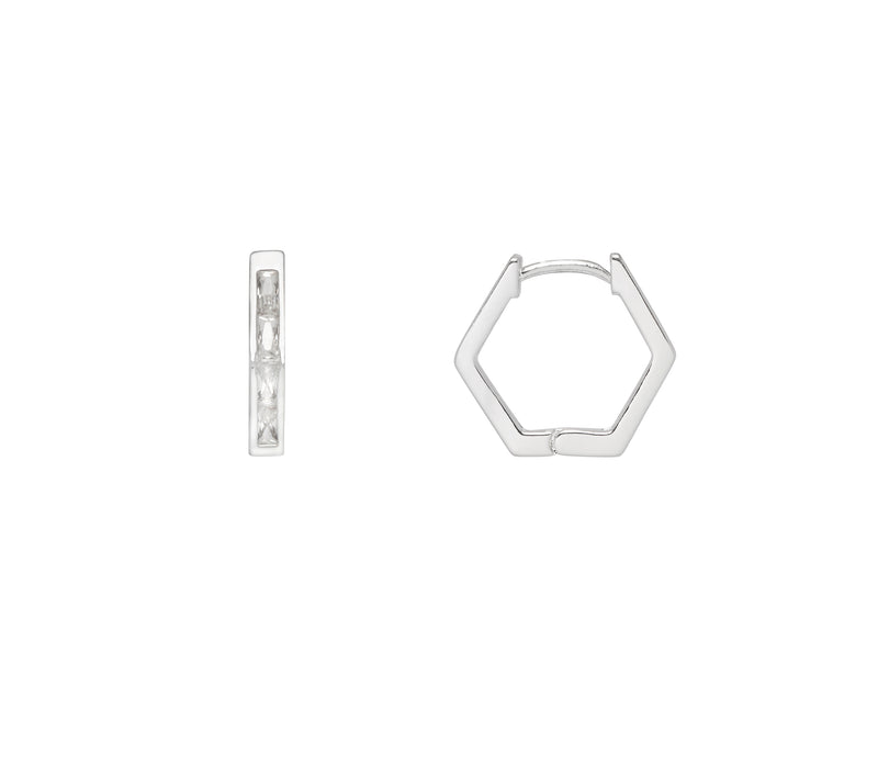 Estella Bartlett Hexagon Huggie Earrings