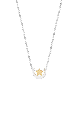 Estella Bartlett Gold and Silver Swing Moon and Star Necklace