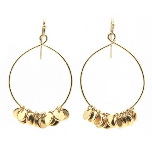 Round Hoop With Dangle Metals Earrings