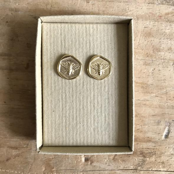 Sixton Holiday Bee Stamp Earrings