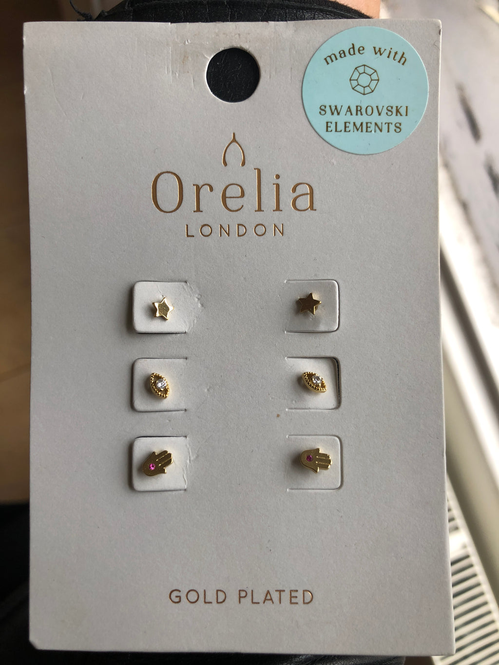 Orelia Three Pack Studs - Star, Eye & Hand