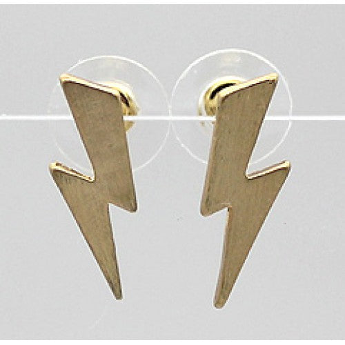 Brushed Metal Lightning Stud Earrings - Gold or Silver