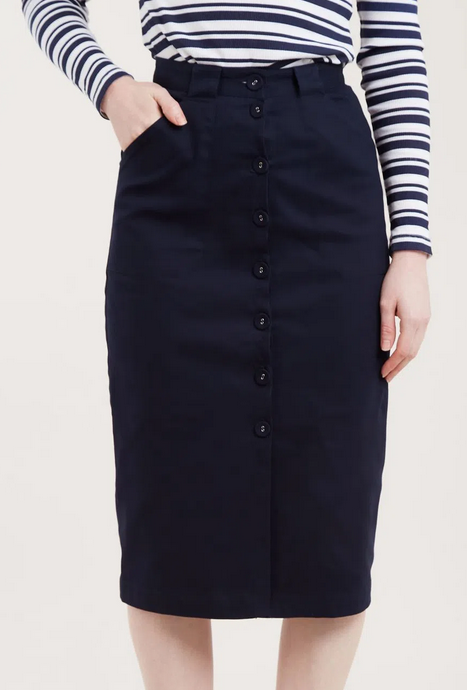 Louche Prune Button Through Midi Pencil Skirt