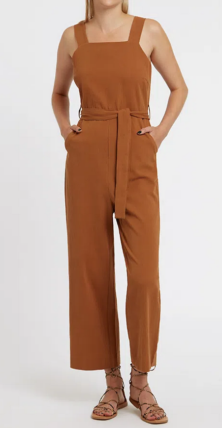 Louche Tan Dawson Cropped Jumpsuit