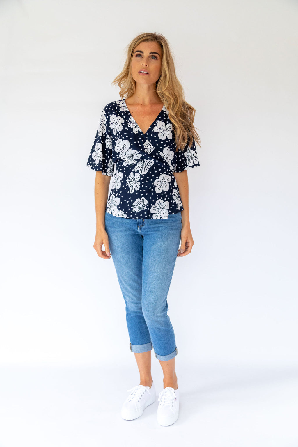 Sugarhill Brighton Indi Hawaiian Floral Batik Wrap Top
