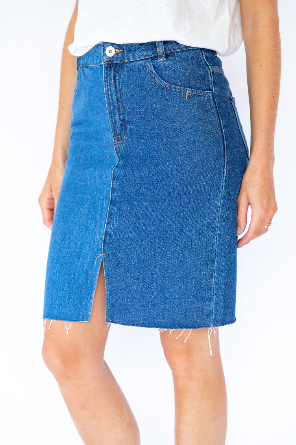 Ichi Gasto Denim Pencil Skirt