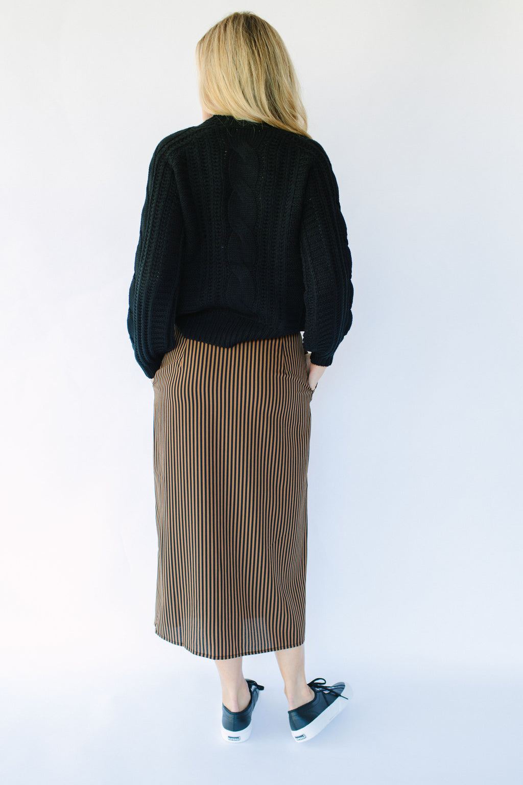 Pieces Stripe Midi Skirt