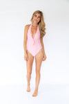 Pieces Deep Plunge Pink One-Piece Swimwuit