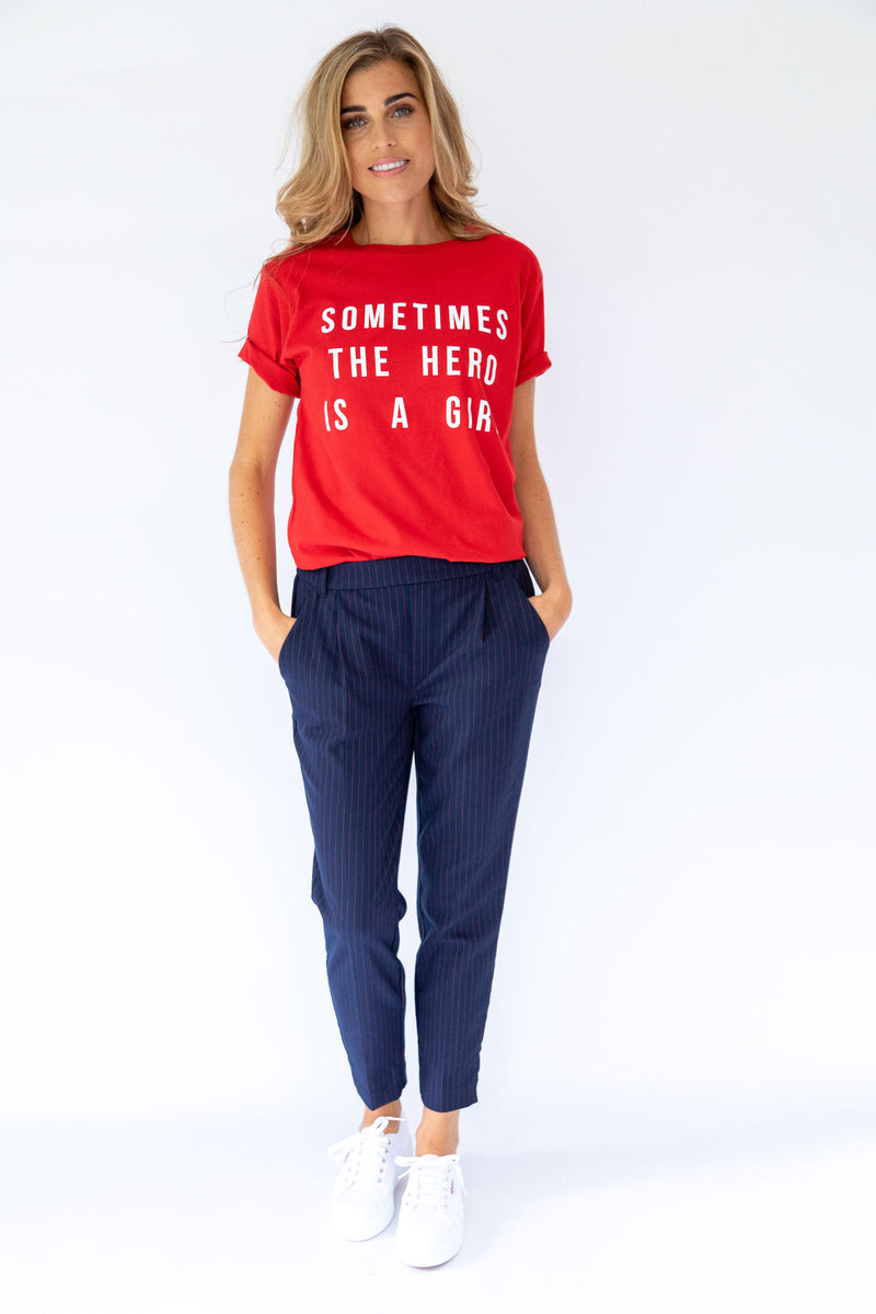 Sometimes The Hero is A Girl Tee - Red