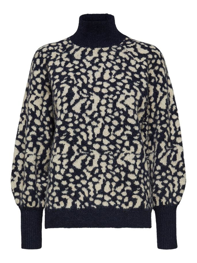 Selected Femme animal print Paris jumper. Knitted pullover with print design. Viewed from front.
