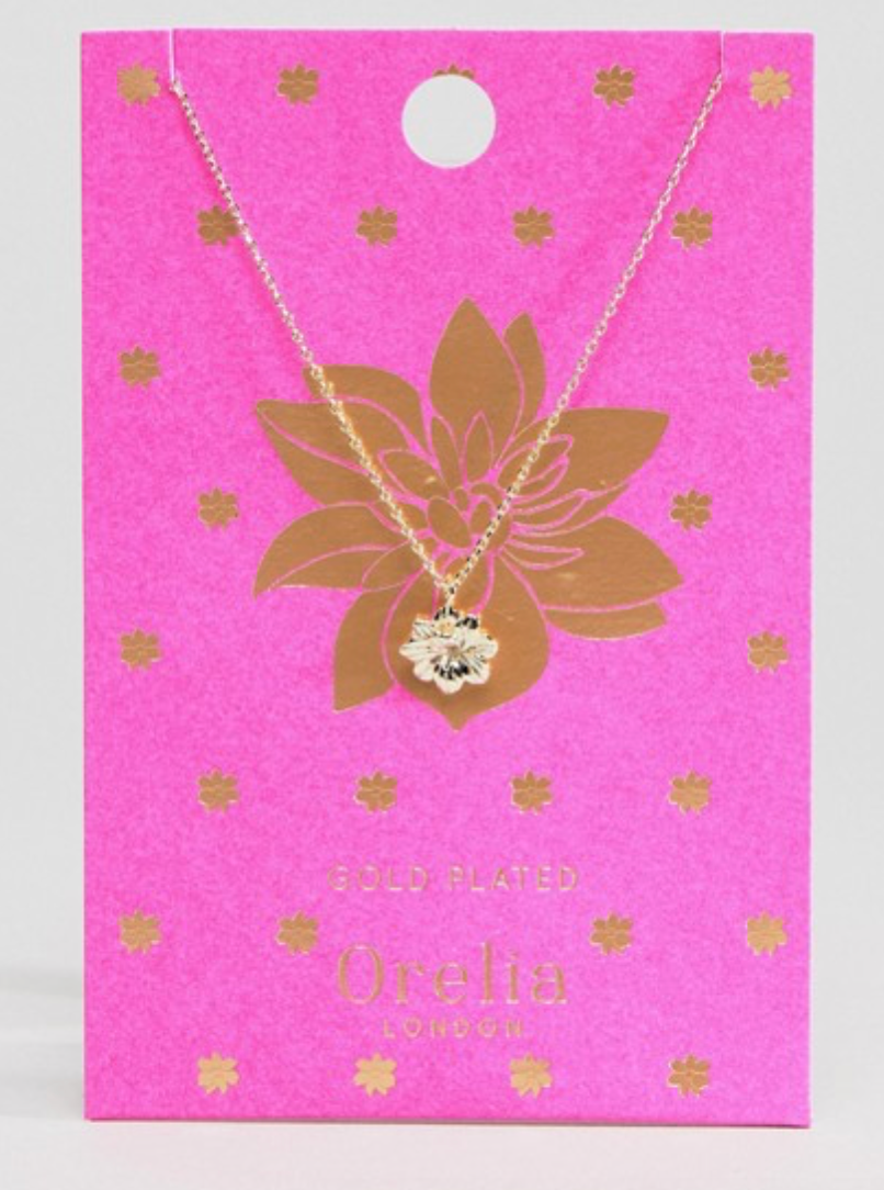 Orelia Lotus Pendant Necklace in Gold