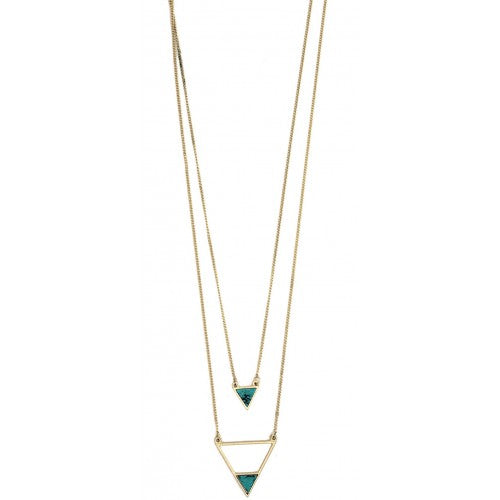 Isles and Stars Double Layered Art Deco triangle pendant Necklace