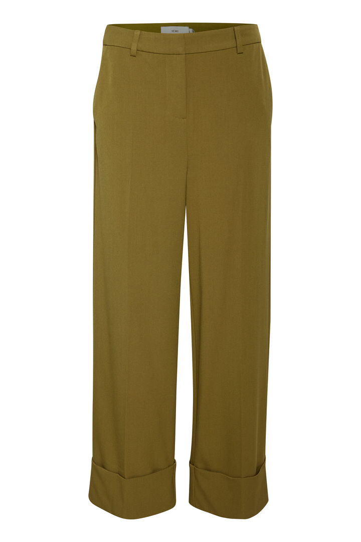 ICHI Alexa Fir Green Trousers