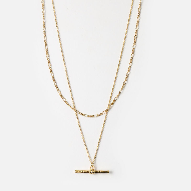 Orelia Bamboo T-Bar 2 Row Necklace