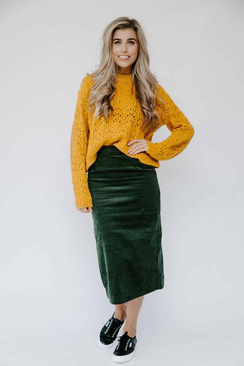 Ichi Bea Forest Green Midi Skirt