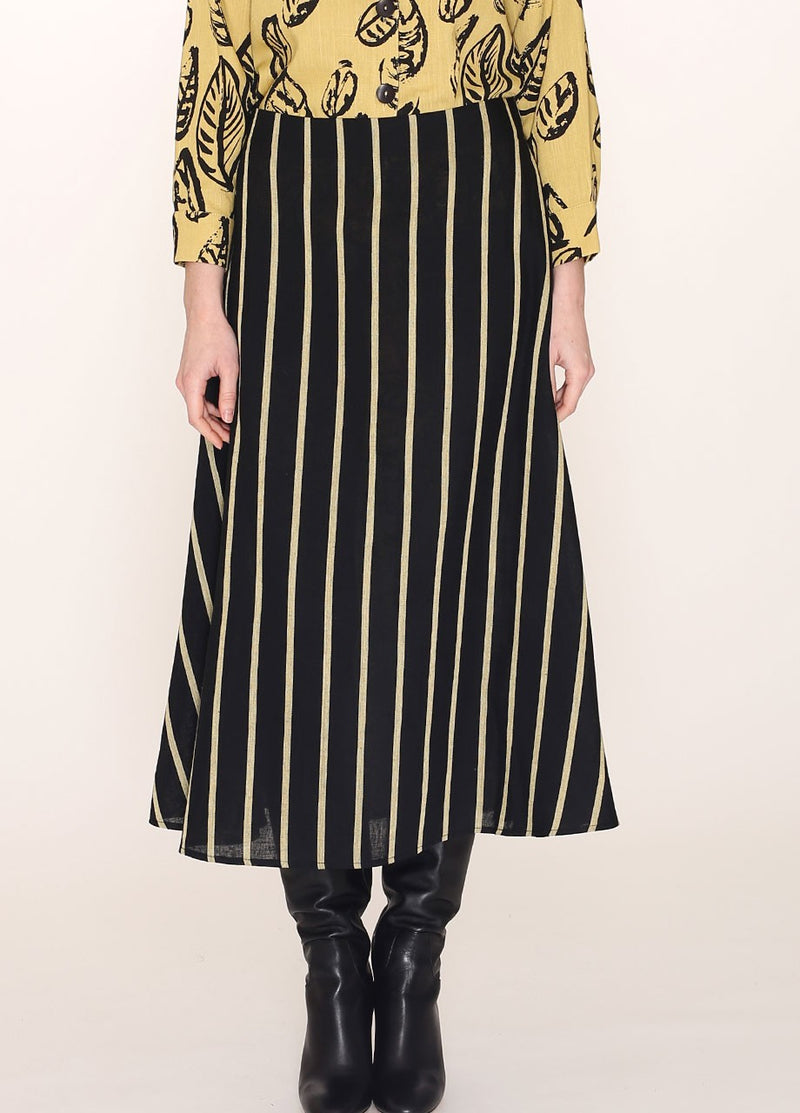 Pepa Loves Black skirt with Yellow Stripes