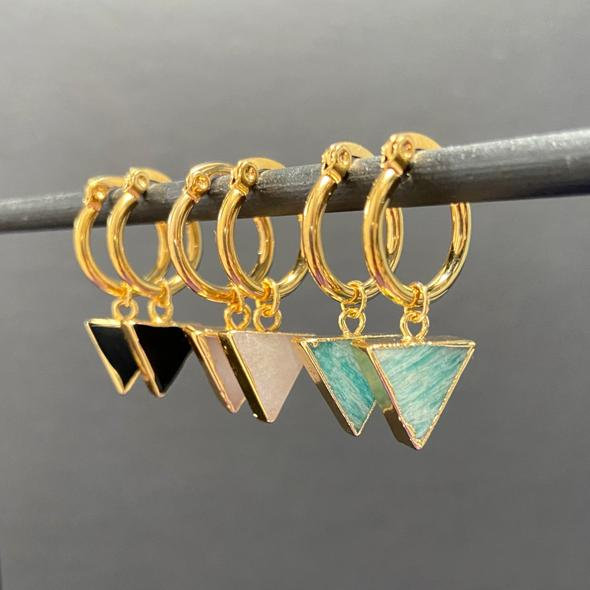 Black Agate triangular stones hanging on gold plated brass hoop earrings. Available from Mint Tea Boutique