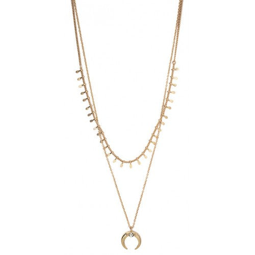 Bone shaped layered necklace - Gold or Silver