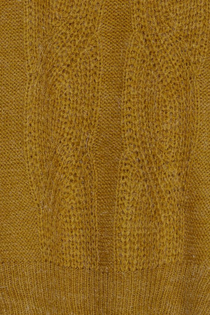 Detail of mustard yellow women's knitted jumper. Long sleeves, casual fit. Mint Tea Boutique