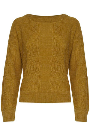 Mustard yellow women's knitted jumper. Long sleeves, casual fit. View from front. Mint Tea Boutique