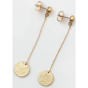 Chain With Textured Round Drop Brass Earrings - Gold or Silver