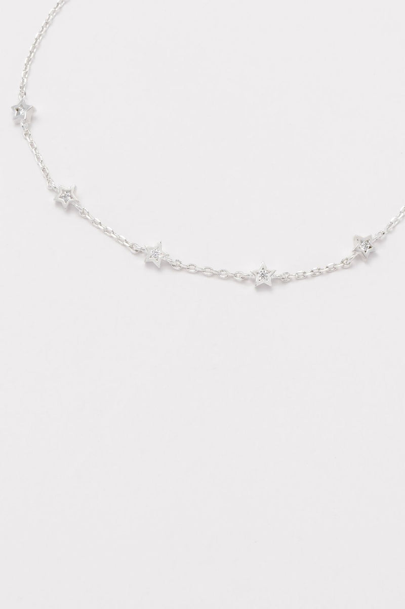 Estella Bartlett Silver Plated Mini Star CZ Chain Bracelet