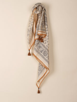 Indi & Cold Cream Patterned Scarf with Tassels