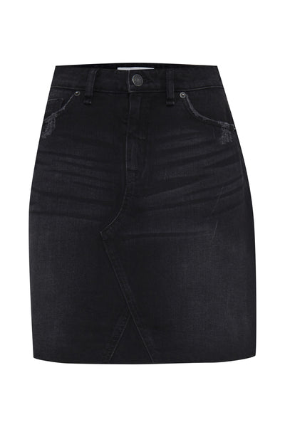 Blendshe Elin Washed Black Denim Skirt