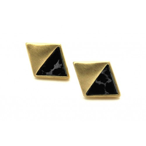 Diamond shape stud earrings with stone